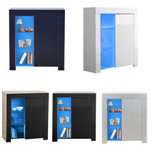 Modern High Gloss Sideboard Hallway Cabinet Storage Units Cupboard Table + Light
