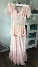 "Antique 1930s Gown SHEER Nylon PINK Party DRESS Peplum Ruffles Pleated 32"" 34"""