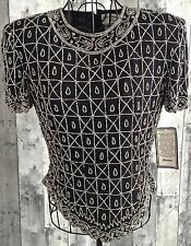 Papell Boutique Evening Beaded Bling Top Blouse Silk Black Silver Small NWT