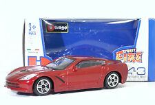 "Bburago 30010 Corvette Stingray (2014) ""Met Red"" METAL Scala 1:43"