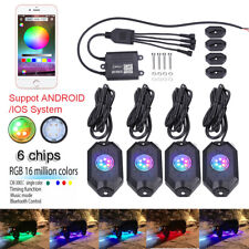 4Pcs RGB LED Rock Lights Wireless Bluetooth Music Flashing Offroad Multi Color