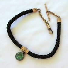 VTG VICTORIAN HUMAN HAIR WATCH FOB  MOURNING JEWELRY