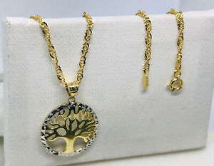 """Solid Genuine 9ct Yellow Gold Tree of Life Pendant&Necklace Necklet 18"""" Chain"""
