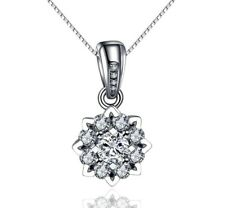 18K White Gold GP Crystal Chain Lady Wedding Pendant Silver Necklace Choker Gift