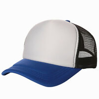Hot Vintage Plain Trucker Mesh Hat Snapback Blank Baseball Cap Two Tone 27 COLOR
