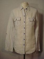 M&S white & lilac candy/pastel pinstripe linen shirt 8