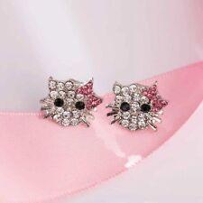 Hello Kitty Post Earrings Rhinestone Studs Crystal Turkish Jewelry Silver Plated