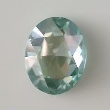 Rose Cut Cabochon Loose Moissanite For Ring 1.94 Ct 9.11 Mm Vvs1 Green Blue Oval