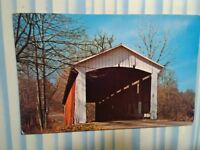 vintage PHOTO POST CARD PARKE COUNTY ROCKY FORK BRIDGE  MANSFIELD INDIANA