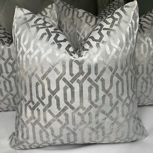 "Luxury Cushion Cover 18"" Geo Designer Fabric Geometric Grey Silver"