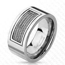 AF Titanio Anillo de plata 10mm Ancho eingelassenem CABLE 60 (19) - 69 (22)