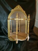 Beautiful Antique Gold Gesso Wall Mirror with Display Shelf & Ornate Details
