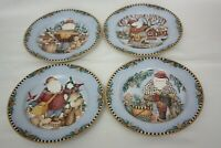 "Sakura 1998 Debbie Mum Woodland Santa 4 Plates Different Scenes  8 1/4""  Blue"