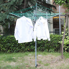 3 Arm 34M Rotary Airer Clothes Dryer Outdoor Laundry Washing Line Ground Socket