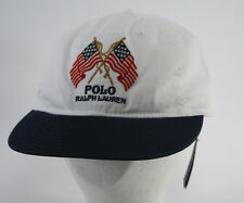 Ralph Lauren Polo Cap - White & Blue W/ 2 American Flags & Leather Strap - NWT