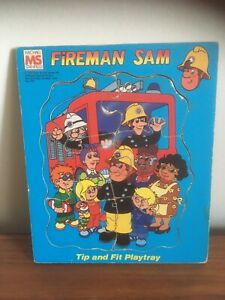 1980's Retro Fireman Sam Wooden Jig Saw Puzzle - Fit & Tip Playtray (B26)