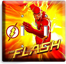 FLASH COMICS SUPER HERO RED YELLOW FLAMES DOUBLE LIGHT SWITCH WALL PLATE COVER