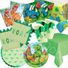 Green Dinosaur Dino Birthday Party Tableware Supplies Bundle Set - 8 Guests Pack