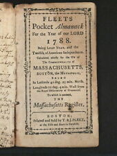 FLEETS Pocket Almanack For the Year of our Lord 1788. Almanack is for Boston