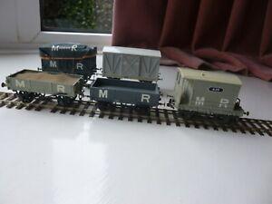 EM Gauge Wagons x 4 and 1 Guards Van..Kit Built.  All Midland Railway. Used. Hoo