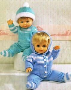 """Knitting Pattern DK Baby Dolls Clothes  12 - 22"""" Dungarees Cardigan Trousers"""