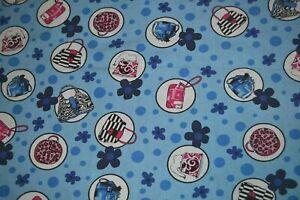"""Cotton fabric 52"""" x 3.75 yards, floral & purse print blue with pink & white"""