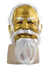 Gold With Grey Hair Oriental Master Mask Mens Fancy Dress Buddha Chinese Guru