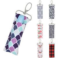 Storage Chapstick Lipstick Holder Pouch Bag Key Ring Printing Keychain Gift Girl