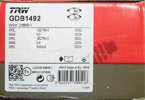 TRW GDB1492 FRONT Disc Brake Pads FITS VW JETTA (2010 On) SAAB 9-3 (08/03on)