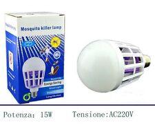 ZANZARA KILLER LAMPADINA LED E27 BULBO CON LUCE BLU ATTIRA E FULMINA ZANZARE