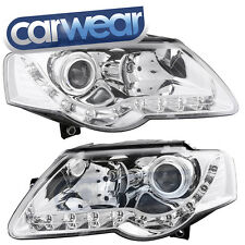 VOLKSWAGEN PASSAT 05-10 CHROME LED DRL R8 STYLE PROJECTOR  HEAD LIGHT