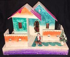 Vintage 1930'S Large Hacienda Putz House - Composition Santa