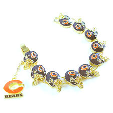 NFL Football Chicago Bears Fashionable Gold Charm Bracelet NEW