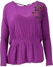 39/30 NEU COLCCI Damen Langarm Sommer Shirt Top Neckholder Wasserfall Gr.XS lila