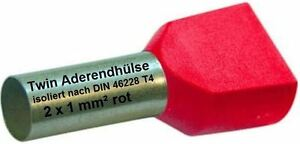 Twin Wire Ferrules 2 X 1 MM ² Red Wire End Ferrules Double Tinned New