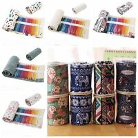36/48/72 Holes Canvas Wrap Roll Up Pencil Bag Pen Case Holder Storage Pouch RYB