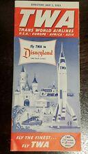 NMT* TWA PRE-OPENING Disneyland Rocket Moon Timetable Guide Brochure Walt Disney