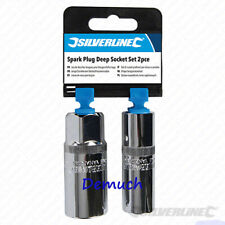 "New Silverline 1/2"" SPARK PLUG DEEP SOCKET SET 2PCE Garage Tool Spanner DIY UK ✔"