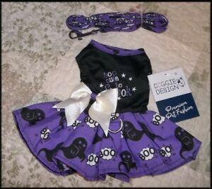 Pet Dog Too Cute to Spook Halloween Ghost Harness Dress Matching Leash XS S M
