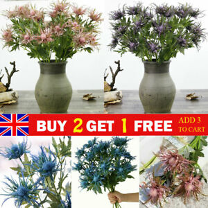 3 Fork Flowers Artificial Eryngium Bunch Plants Thistles Leaves Party Home Decor