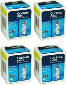 CONTOUR NEXT TEST 200 STRIPS-4 boxes of 50 ct FREE SHIP EXP 8/2022 SAVE $$$