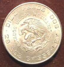 SILVER COIN OF DIEZ PESOS MEXICO - YEAR 1956