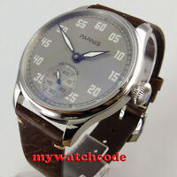 44mm PARNIS gray dial luminous asia 6498 movement manual wind leather mens watch