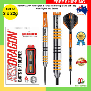 Red Dragon Amberjack 3 22g Tungsten Steeltip Darts Set With Flights And Stems