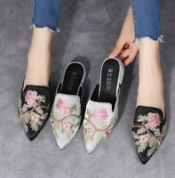Black Silver Slipper Mules Womens pointed low-heels embroider flowers shoes