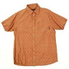 prAna Button Up Shirt Adult Medium Short Sleeve Outdoor Rust Orange Hiking Camp