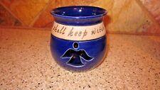 Ceramic Stoneware Votive Candle Holder Dark Blue With Angel