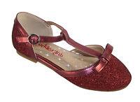 Girls Childrens Dark Red Sparkly Glitter Party Flower Girl Ballerina Shoes Kids
