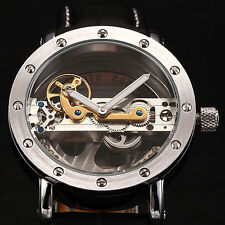 New Transparent Bridge Black Leather Skeleton Men's Automatic Mechanical Watch