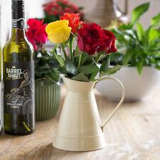 16cm Small Vintage Cream Enamel Metal Jug Pitcher Flower Pot Vase Wedding Decor